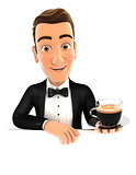3d waiter behind empty wall and holding a cup of coffee