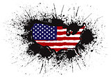 USA Flag in Map Grunge Ink Splatter Illustration