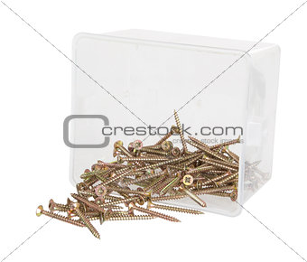 Brass cross screws in a plastic box