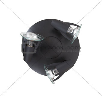 Black ceiling light fixture isolated