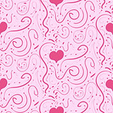 Romantic pink background with hearts and vignettes, seamless pattern
