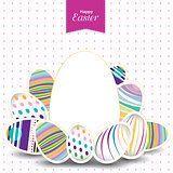 Easter day  for egg on vector design. Colorful pattern for eggs. Colorful egg isolated on white and pink background.