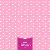 Happy Valentine's Day and white heart on pink background. Valentine's Day.