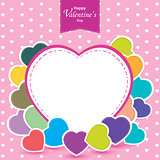 Valentine's Day and colorful heart on pink background. Vector Valentine's Day.