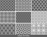 Set of nine monochrome Arabic patterns