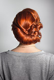 Wedding styling the girl in regular clothes. Sample hairstyles before party.