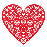 Folk art Valentine's Day heart- love, wedding, birthday greetings card