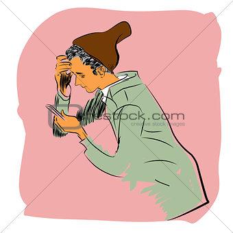 Boy smartphone new technology
