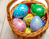 Wicker basket with easter eggs