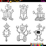 robot characters coloring page