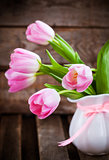 Fresh spring pink tulips with hearts