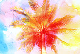 watercolor retro palm