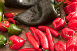 Assorted varieties of chili peppers