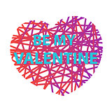 Be my Valentine vector. Vector illustration with grunge heart  Happy valentines day and weeding design elements.