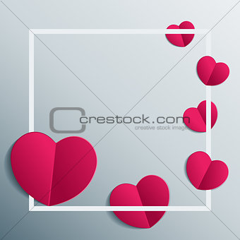 Background with paper hearts in white frame. Vector with heart stickers.