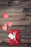 Romantic red envelope on a wooden background Valentine's Day heart-shaped invitation