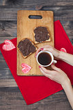 Toast with chocolate paste. Romantic breakfast on Valentine's Day. Love