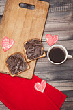 Coffee, toast and chocolate paste, romantic breakfast on Valentine's Day