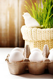 Easter background with eggs and cute bird