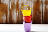 Spring gardening background with buckets