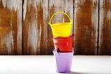 Spring gardening background with buckets