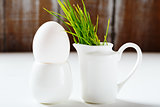 Spring Easter set with white dish and egg