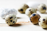 Quail eggs lying on the table