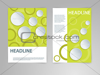 Abstract vector flyer, poster, magazine cover template in size A4 with 3D paper graphics. Eco, bio, natural, green, organic front page and back page background