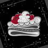 Cake with cherries on an abstract background. Festive cupcake.