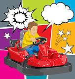 Boy driving go kart