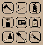 Hiking icons set 2
