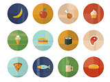 Set of Twelve Vector Food and Drink Icons