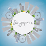 Singapore skyline with grey landmarks, blue sky and copy space.