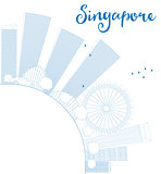 Outline Singapore skyline with blue landmarks and copy space.
