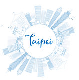 Outline Taipei skyline with blue landmarks and copy space.