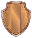Wooden shield with steel edging