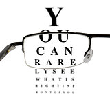Eyeglass with humorous eyetest chart
