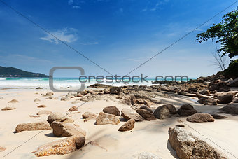 Beach with large boulders