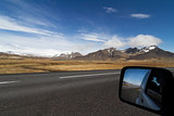 Car mirror on a the ring road in Iceland