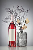 Rose wine bottle with label mockup