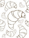 Croissants linear drawing background
