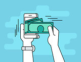 Mobile banking flat line contour illustration of human hand  withdraws cash