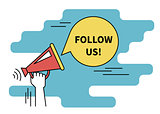 Follow us banner for social networks. Flat line contour illustration of human hand holds red megaphone