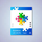 Brochure design with puzzle pieces