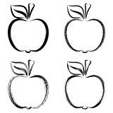 Black vector brush strokes apples