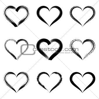Black vector brush strokes hearts