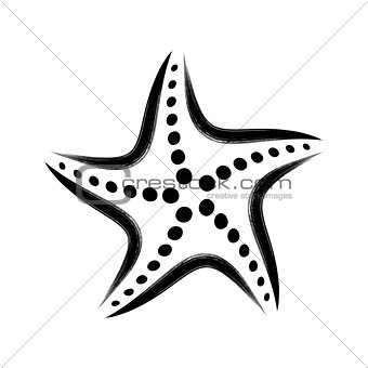Black vector stylized starfish