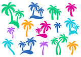 Vector palm tree silhouette icons