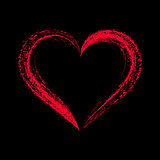 Red vector stylized heart on black