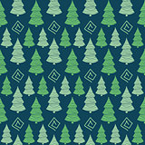 Abstract Color  Christmas green tree seamless pattern